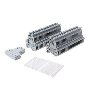 50 Uds UKK3 carril DIN doble nivel doble fila bloque de terminales 500V 25A 28-12AWG gris venta al por mayor y Dropship