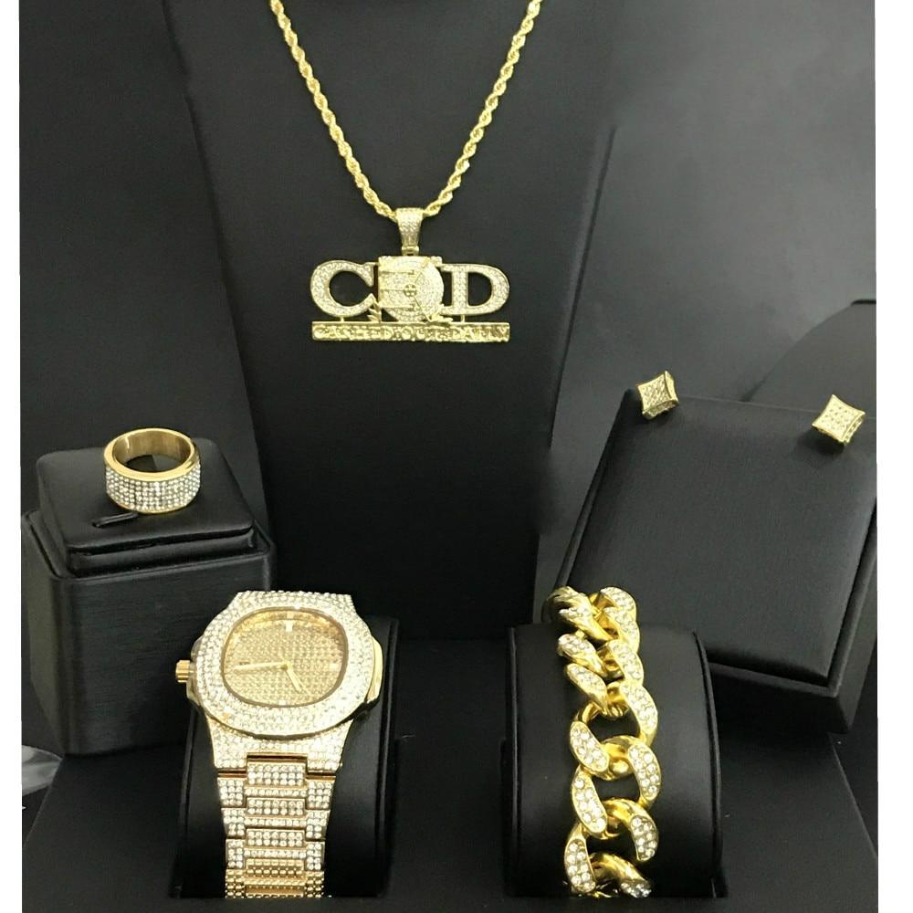 Montre de luxe pour hommes couleur or et collier et Bracelet et boucles d'oreilles et bague Combo montre cubaine encaissée pendentif de jour pour hommes