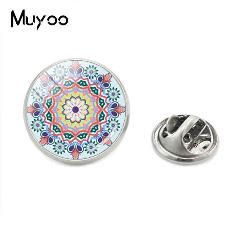 Baru Fashion Perhiasan Lingkaran Bunga Gambar Pola Logam Kerah Pin Kedatangan Kaca Bulat Dome Foto Perhiasan Kupu-kupu Pin