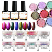 Manicure Dipping System Kit Chameleon Nail Art Dip Powder With Base Activator Gel Color Natural Dry Without Lamp