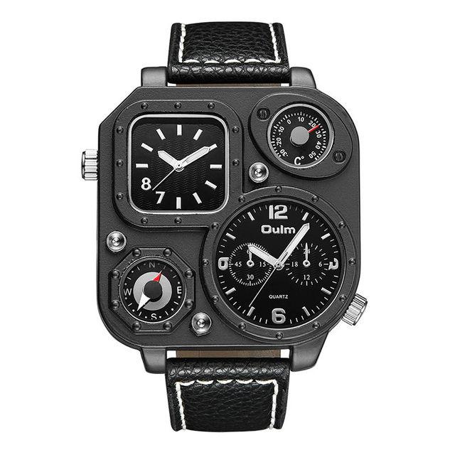 134fc8f9976 Relogio Marca de Luxo Oulm Relógios Militares Bússola Temperatura Design  Mostrador do Relógio de Quartzo Homens