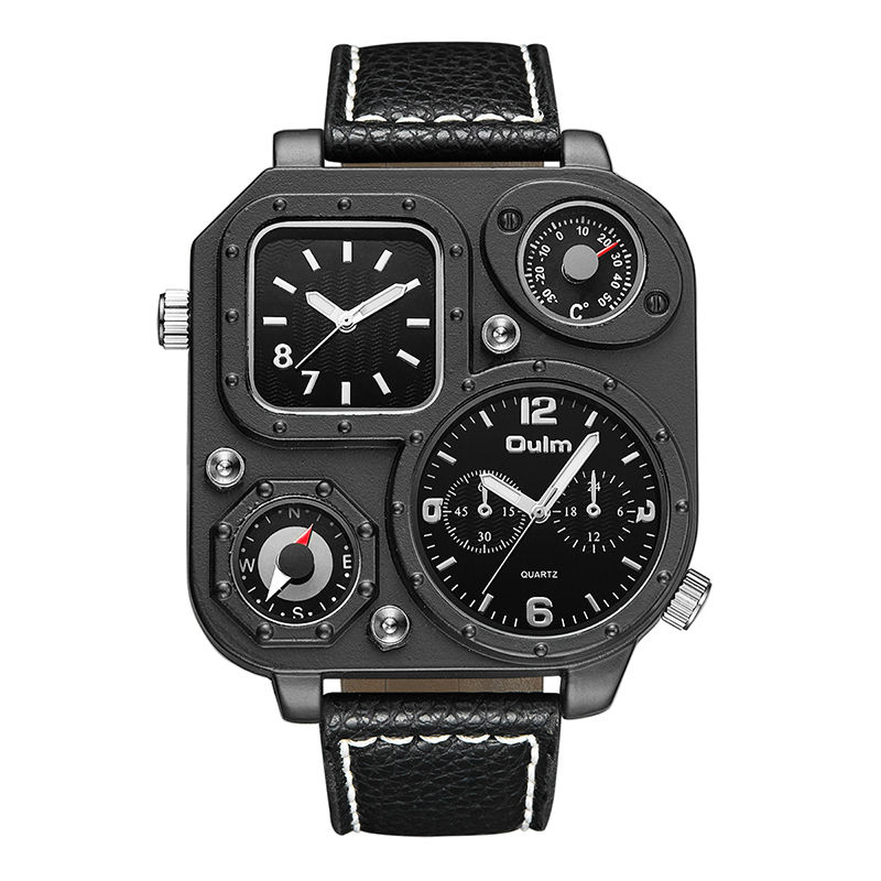 relogio Oulm Brand Luxury Watches Military Temperature Compass Design Sports Clock Leather Strap Double Display Quartz Watch Men 2017 luxury men s oulm watch sport relojes japan double movement square dial compass function military cool stylish wristwatches