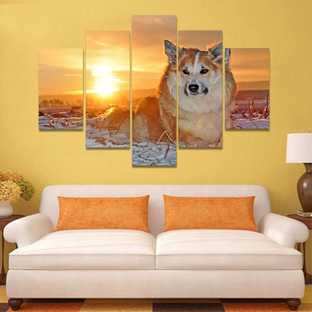 Unframed Canvas Painting Snowfield Lone Wolf Sunset Art Picture Prints Wall Picture For Living Room Wall Art Decoration
