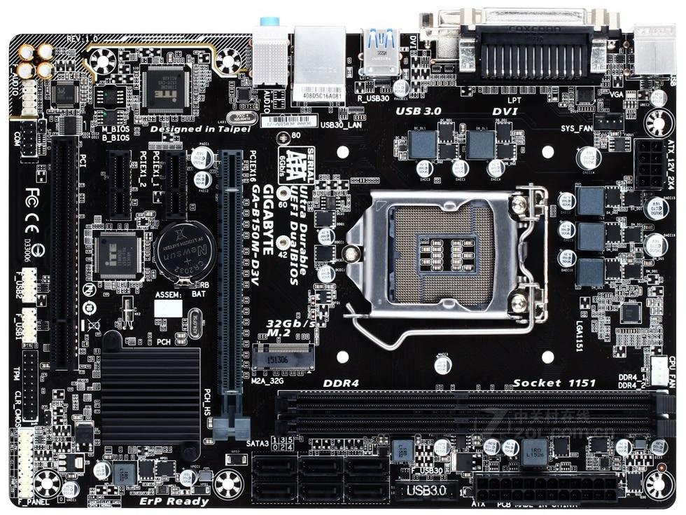 Gigabyte GA-B150M-D3V Desktop Motherboard B150M-D3V B150 LGA 1151 Core I7 I5 I3 DDR4 32G SATA3 USB3.0 DVI VGA M.2 Micro-ATX
