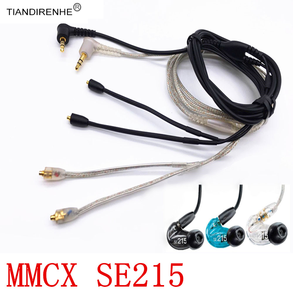 MMCX Plug Upgrade SE215 Original Gold Plated Earphone Headset Headphone Black Silver Cable for Shure SE315 SE425 SE535 SE846 800 wires soft silver occ alloy teflo aft earphone cable for shure se215 se315 se425 se535 se846 ln005408