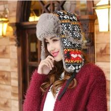 HT015 Outdoor Russian Bomber Hats Men Women Earmuffs Earflap Cap Winter Casual Riding Ski Cap Snowflake Heart Printed Winter Hat