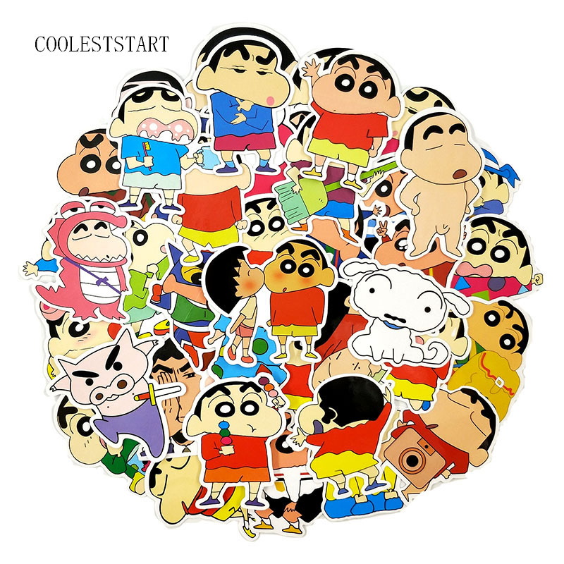 50 Pcs/Pack Crayou Shin-chan Stickers Cartoon Sticker For Laptop Refrigerator Motorcycle Bicycle Suitcase Toys Sticker For Kid