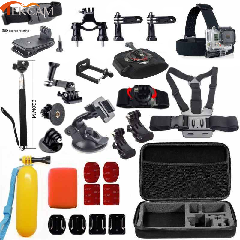 все цены на Tekcam accessories set for gopro hero 6 for gopro Hero 5 hero5 session hero4 xiaomi yi 4k+ SJCAM SJ6 Legend sj5000 action camera