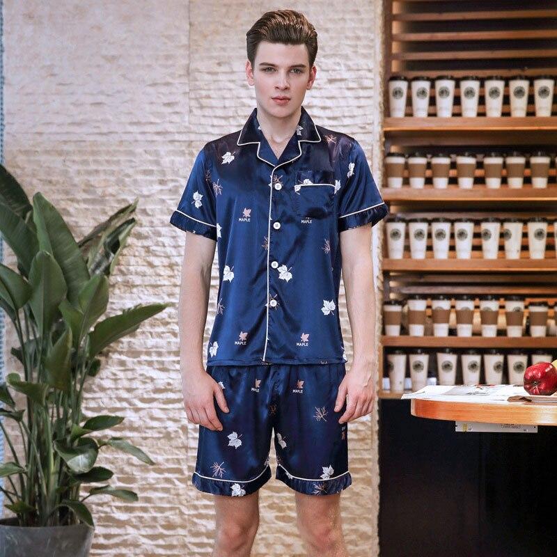 Leaf Printed Summer Sleepwear Turndown Collar Short Sleeve Comfort Satin Pajama 2pcs set for Men Loose Home Nightwear TZ731