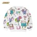 Nuevo 2017 animales de dibujos animados pintada baby girl toddler girl clothing sudaderas jerseys hoodies de los cabritos niños del traje para los niños