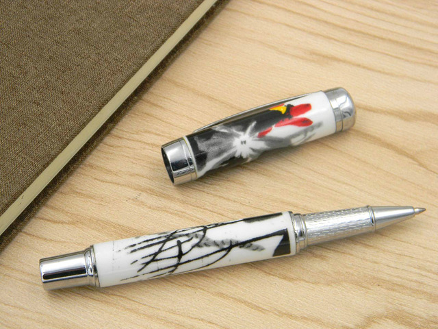 Chinese Porcelain Chinese painting water ink lotus flower Roller ball Pen