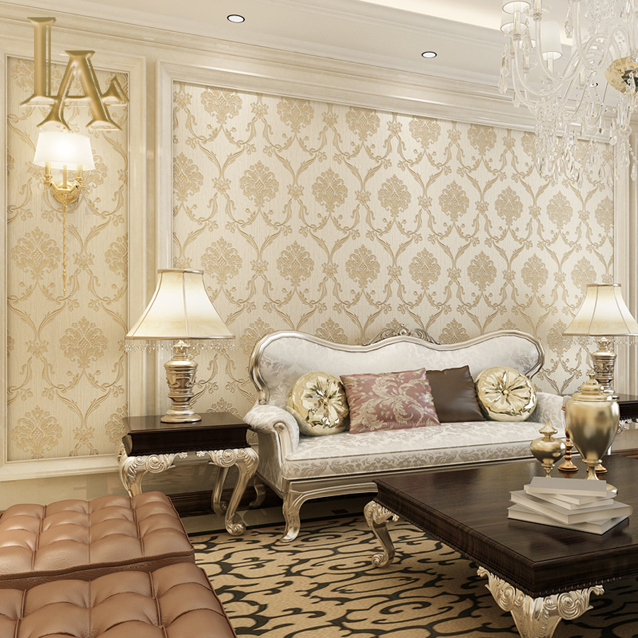 Luxury western style classic design shell damask 3d for Damask wallpaper living room ideas