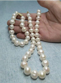 NATURAL AAA 11-12MM SOUTH SEA WHITE PEARL NECKLACE + BRACELET PLATED CLASP