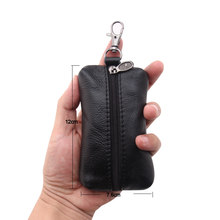 100% Genuine Leather Key Holder Car Key Wallets Men Keys Organizer Housekeeper Women Covers Zipper Key Case Bag Pouch Purse(China)