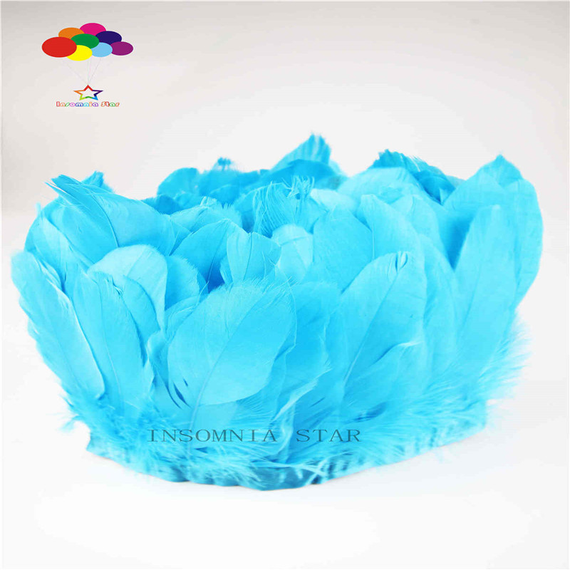 Z&Q&Y Beautiful 15-20CM Goose Hair Dye Lake Blue Fabric 2 Meter Cloth DIY Clothing Decoration Accessories Stage Collocation
