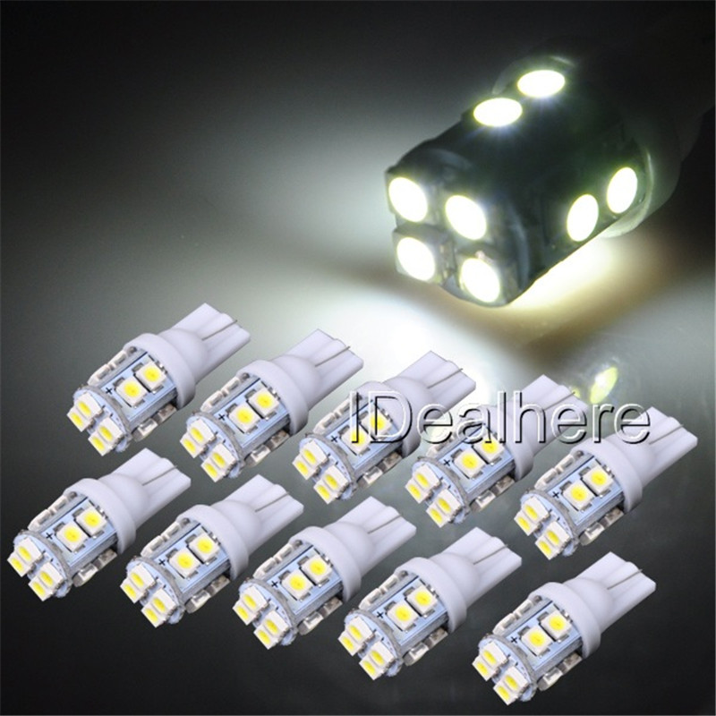 10Pcs/lot T10 1210/3528 12SMD LED White Light Car Side Wedge Tail Light Lamp 24V LED T10 W5W 194 147 Reading License Plate Lamp