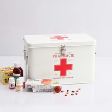Multi-layer Multifunctional Micro-toolbox First Aid Kit Red with White Cross Metal Medicine Storage Box for Family Home Office