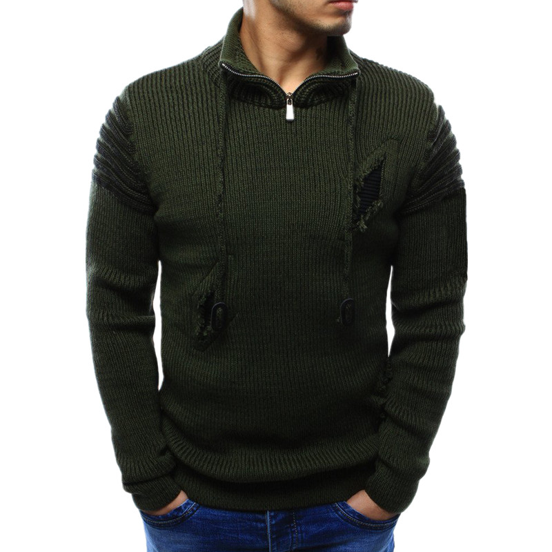 Winter Sweater Pullover Men 2018 Male Brand Casual Slim Sweaters Men High Quality Zipper Holes Sweater Knitted Hedging XXL