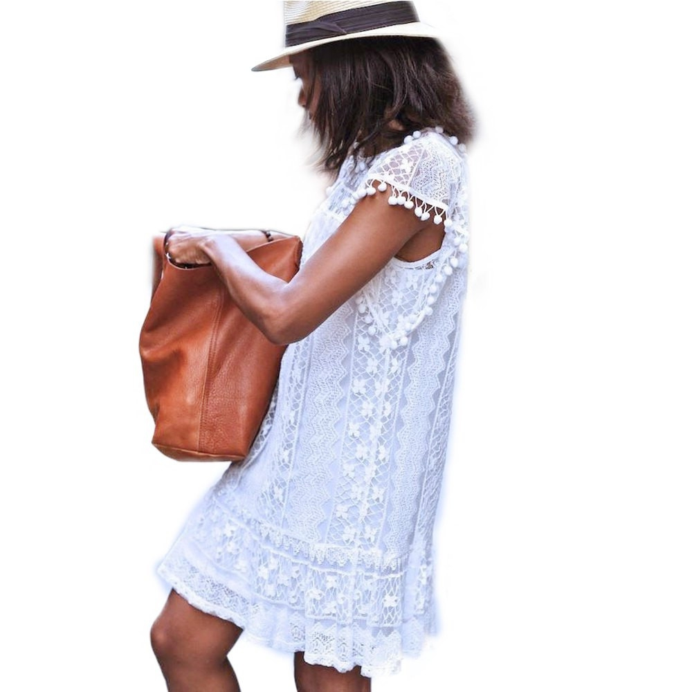 VESTLINDA Lace Dress Women O Neck Sleeveless Solid White Dress Summer 2017 Fresh Style Loose Mini Short Dress Vestidos Plus Size 2