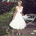 New Short Wedding Dresses 2017 Tea-Length Scoop Neck Cap Sleeve Tulle with Applique Button Back Bridal Gowns Custom Made