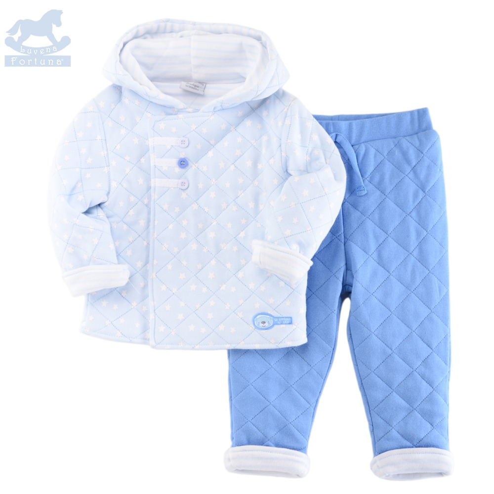 Luvena Fortuna Baby Boys&Girls 2017 Autumn Winter New Style Star&Floral Quilted Hooded Jacket And Pant Set G8363 2016 winter new soft bottom solid color baby shoes for little boys and girls plus velvet warm baby toddler shoes free shipping