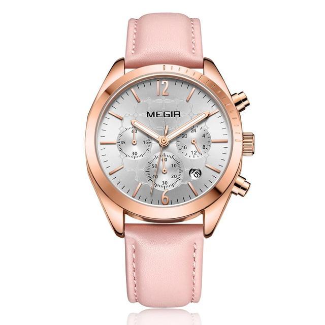 MEGIR Women Fashion Watch Luxury Women Watches Leather Band Chronograph Auto Date Quartz Ladies Watch Women Clock Reloj Mujer | Fotoflaco.net