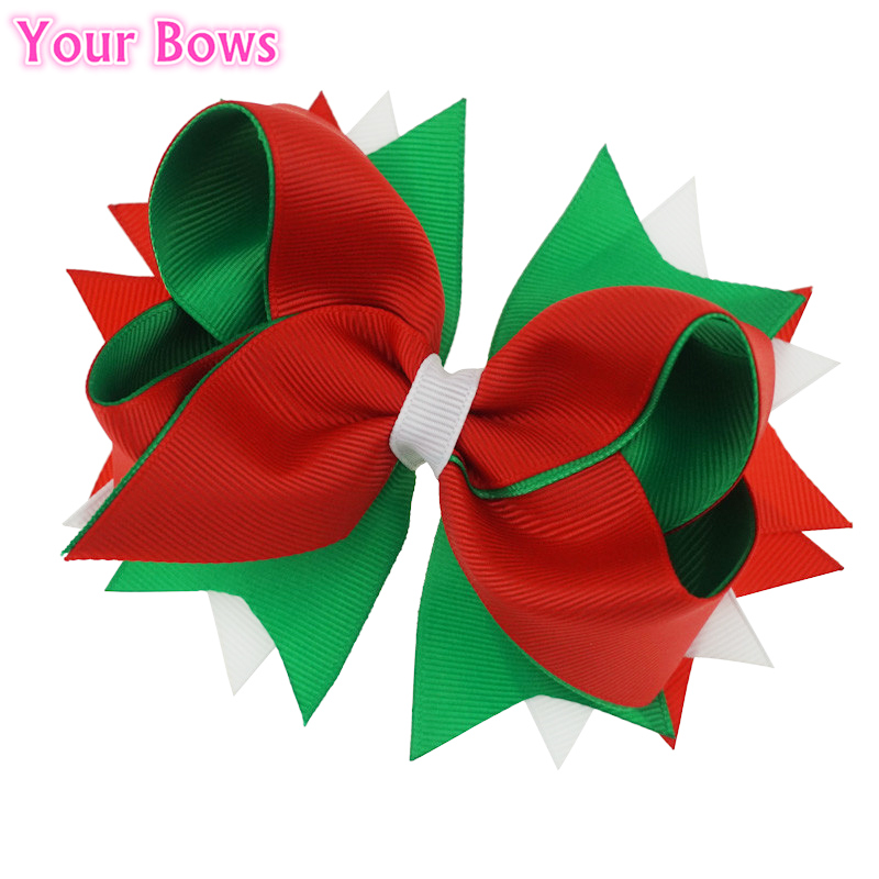 Your Bows 1PC 5Inches Girls Hair Bows Christmas Gife Boutique Bows For Girls Bows Hair Pins Niños Accesorios para el cabello