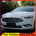 KOWELL Car Styling For Ford Mondeo 2017 Headlights Mondeo LED Headlight DRL Hid Bi Xenon Beam Lens Flash Straight Yellow Turning