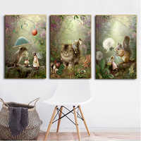 MUTU Fairy Tale Girls Angels And Animal Posters Canvas Art Painting Wall Art Nursery Decorative Picture Nordic Style Kids Decor