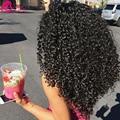 7а Перуанский Kinky Вьющиеся Weave Волос Девственницы Kinky Вьющиеся Крючком Наращивание волос 100 Человеческих Волос Шить В Расширениях Sassy Girl волос