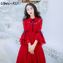 Ubei Spring and summer vacation fairy dress chiffon wave point red long peter pan collar flared sleeve big hem