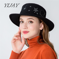 2018 Autumn Winter Mens 100% Wool Hats Fedoras Vintage Women Girls Felt Fedoras Flat Top Jazz Hat Chapeau With Handmade Pattern