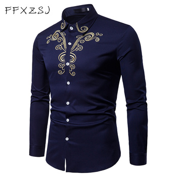 FFXZSJ brand Spring Royal Court Style Solid  Floral Embroidered Dress Lapel shirt Slim Fit Casual Long Sleeve men Shirt