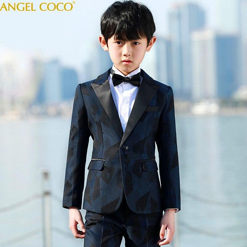 Prince 5 Pieces/Suit Coat/Pants/Vest/Shirt/Bow Tie Boys Clothes Roupas Infantis Menino Conjunto Infantil Vetement Enfant Garcon