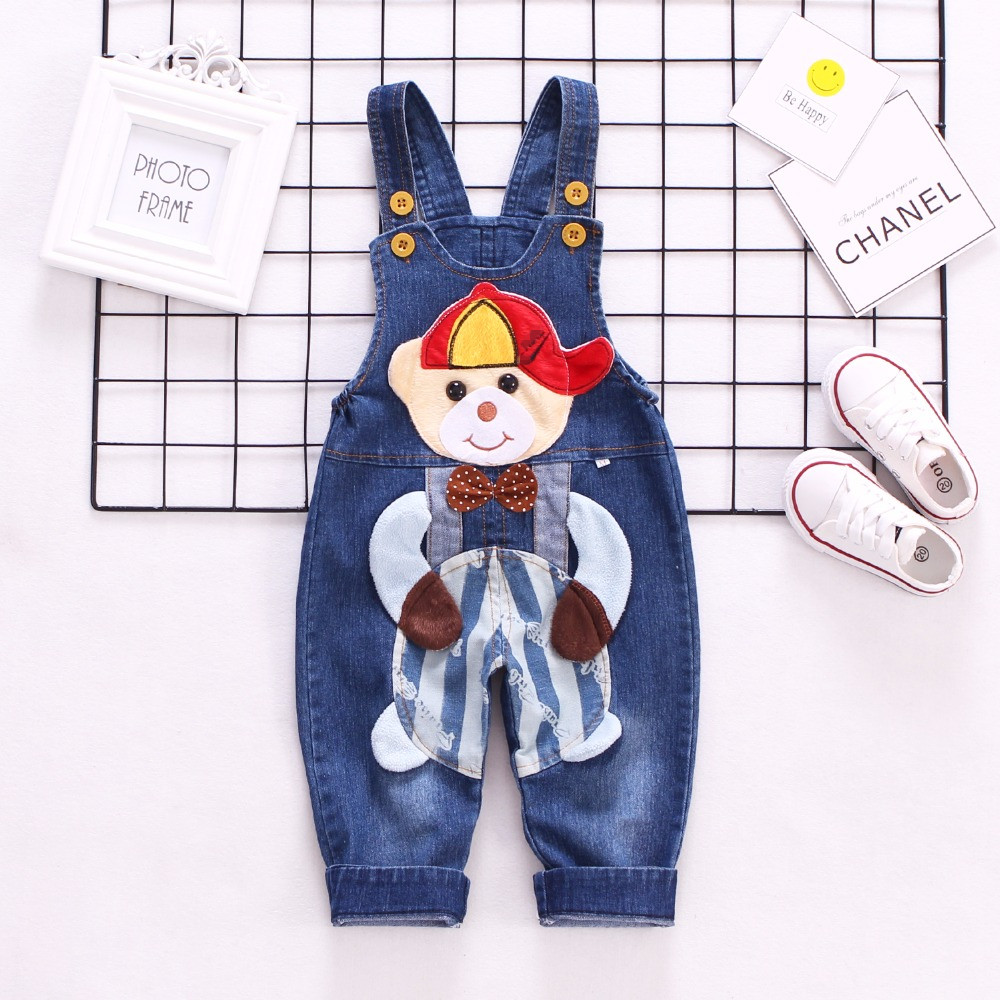 1-3T Spring Baby Overalls Girls Boys Denim Pants Cute Bear Trousers Kids Rompers Toddler Jumpsuit Bebe Clothing Infant Clothes