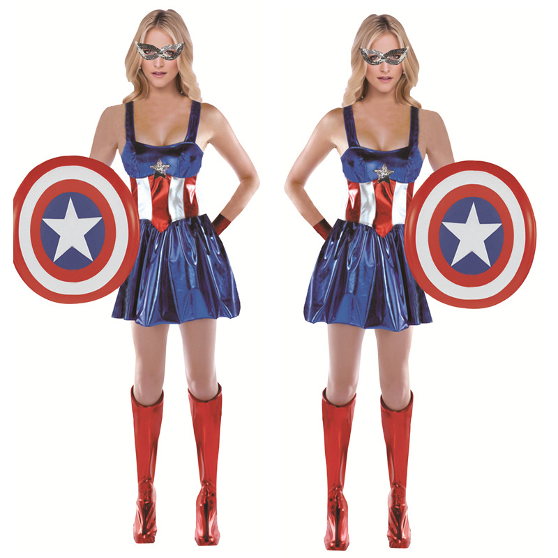 Adult Ladies Captain America Cosplay Costume Halloween Super Hero Woman Fancy Sling Dress Clothes & Mask & Shield Sets C45143AD