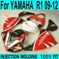 Kit de carenado plástico abs para yamaha yzf r1 09 12 (blanco rojo) de inyección de carenados ll12
