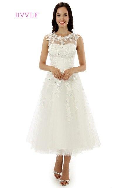 Vestido De Noiva 2018 Short Wedding Dresses A line Tea Length ...