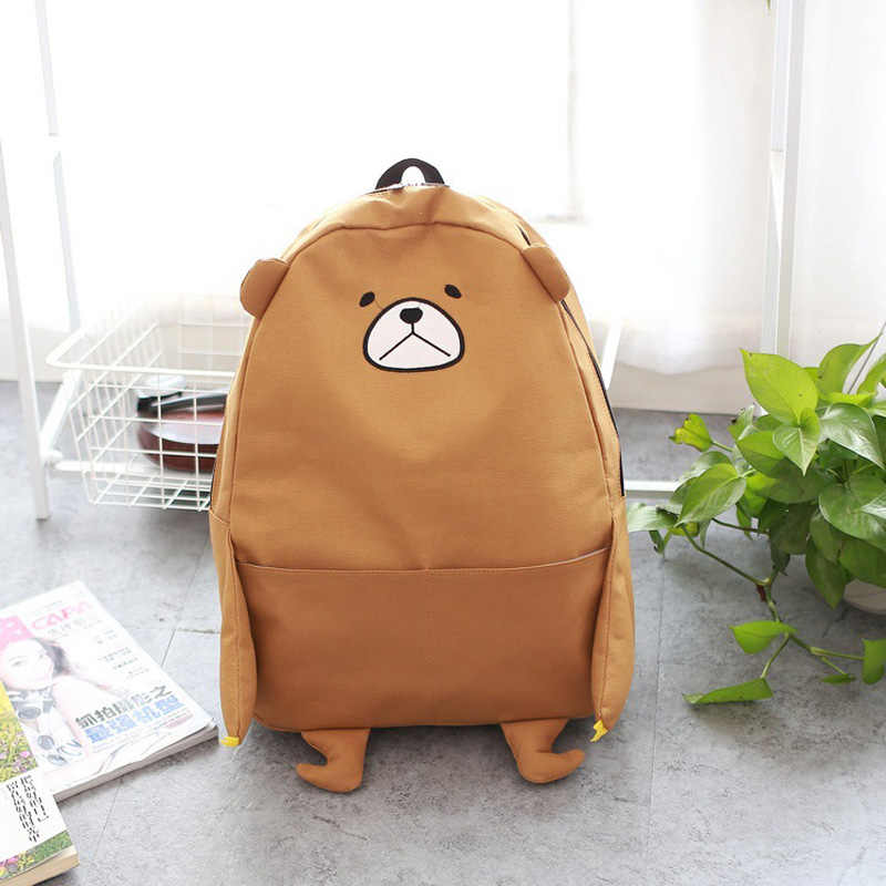 2019 new cartoon bear shoulder bag Funny bear canvas student bag large  capacity cute backpack Y201 5967fc7caef35