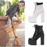 2019 autumn and winter new Korean punk boots ultra high heel women's shoes thick bottom 15CM hate high and thick women's boots