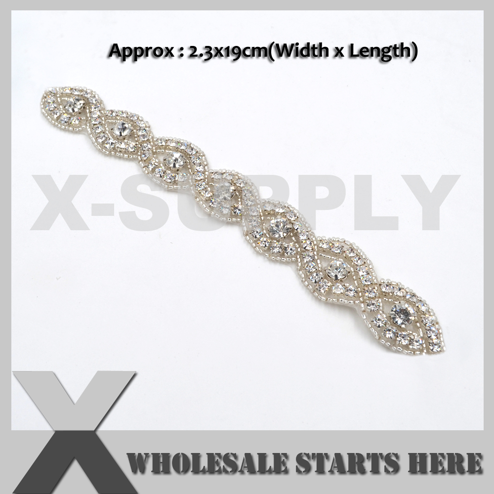 (19cm Length) Iron On Clear Rhinestone Applique Patch for Wedding Dress,Baby Hair Decoration,X1-RAT2510