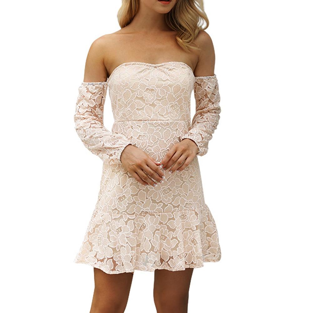 1b02de4ea1c5 Women Strapless Crochet Khaki Chiffon Dress Sexy Off Shoulder Long Sleeve  Lace Summer Elegant Backless Mini Short Dresses GJJ488