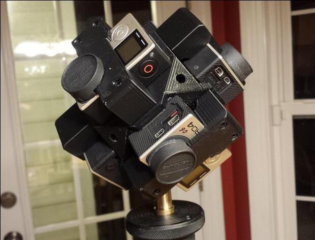 ФОТО 360 Degree Camera Video Cage Frame Bracket for Black Gopro Hero 3+ 4 3D Printed