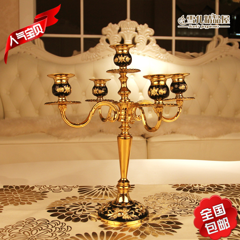 The new shipping senior black rubber Candlestick drop gold-plated metal candlestick Hotel decor Home Furnishing creative style