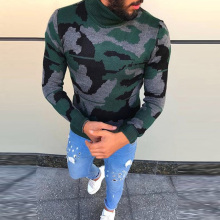 PODOM 2019 Winter Men Pullovers Long Sleeve Turtleneck Sweaters Slim Fit Camouflage