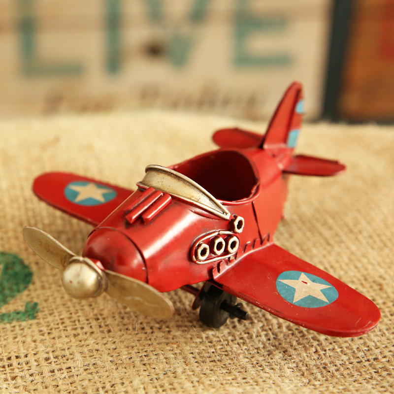 Europe Ace of Aces Red/Blue/White/Yellow Iron Fighter Model Retro Small Plane Desk Decoration for Men Gift DEC098