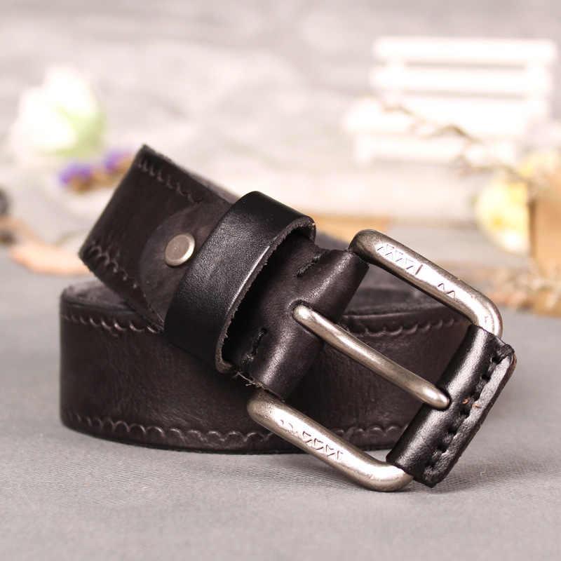วัวหนังแท้เข็มขัดชายเข็มขัดสำหรับกางเกงยีนส์คลาสสิกออกแบบสายคล้องคอ VINTAGE PIN BUCKLE เข็มขัด dropshipping