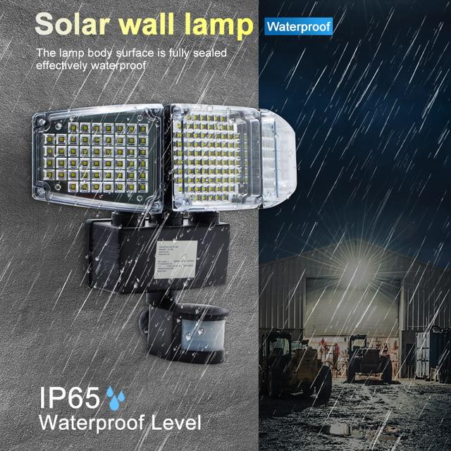 1000LM 188 LED Solar Light Motion Sensor Security Lamp Waterproof Three Head Outdoor Light For Entryways, Patio, Yard, Gardren 6