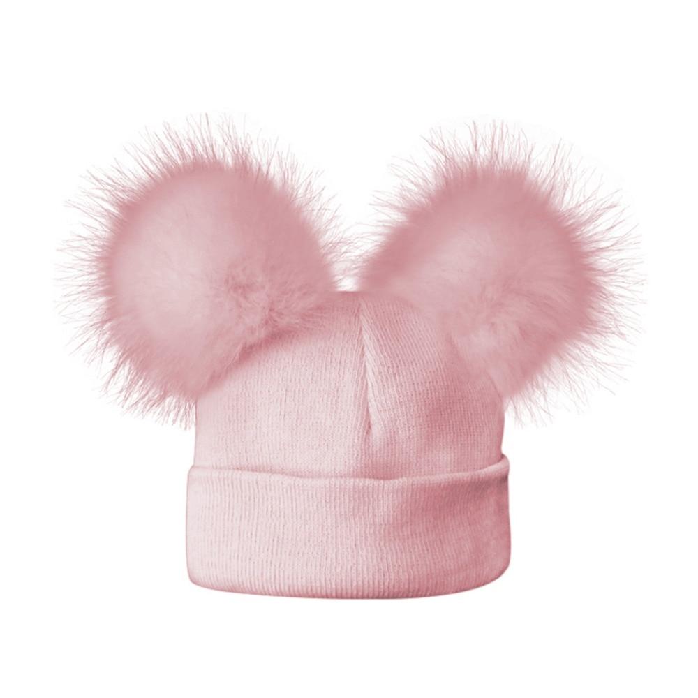 2017 Cute Baby Faux Raccoon Hat Double Fur Pom Pom Cotton Knitted Kids  Newborn Child Caps Cartoon Hats Boys Girls Caps Beanie 6eb7cf72986