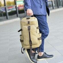 Large Capacity Multifunction Double Shoulder Bag Handbag Outdoor Hiking Trekking Backpack Mens Canvas Travel Backpack